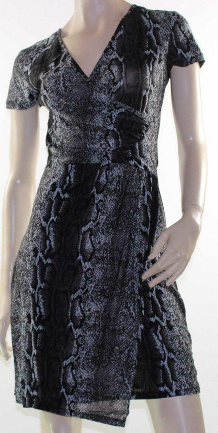 Dress Black Snake Print Dress Wrap Crossover Size 8 10 12 14 LUSHOUS