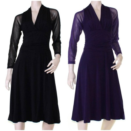 Dress Cocktail Black Purple Races Formal Plus Size 10 12 14 16 18 20 EVERSUN