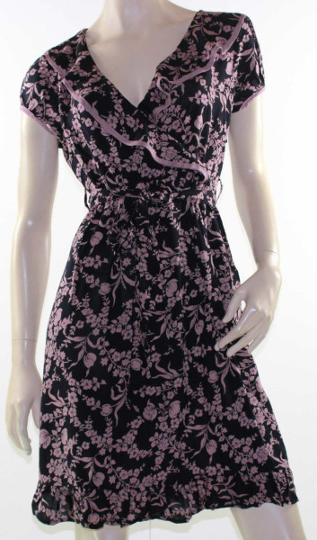 Dress-Ruffle-Black-Rose-Crossover-Rayon-Floral-Size-8-10-12-14-EMBELLISHED-221558275629
