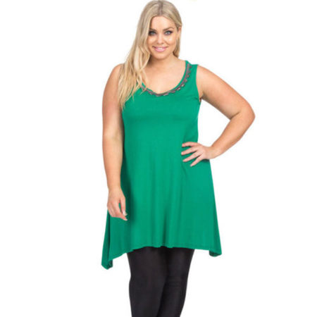 Embellised Tunic Tank Top Green AUTOGRAPH Plus Sizes 14 - 20 Women Scoop Neck