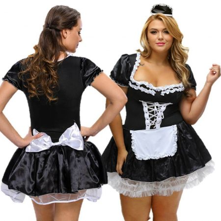 French Maid Costume Plus Size 8 - 26 Satin Fancy Dress Halloween Hens
