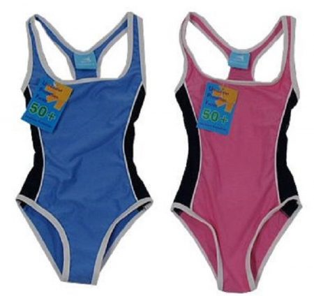 Girl-Pink-Blue-One-Piece-Bathers-Swimwear-Racer-Action-Size-3-4-5-6-7-321741575328