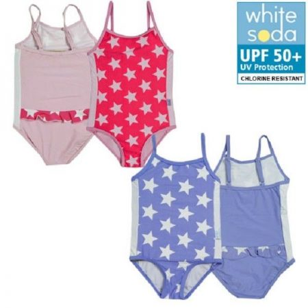 Girls One Piece Bathers Sizes 2 3 4 5 6 7 8 Purple Pink Stars Swimwear UPF50+