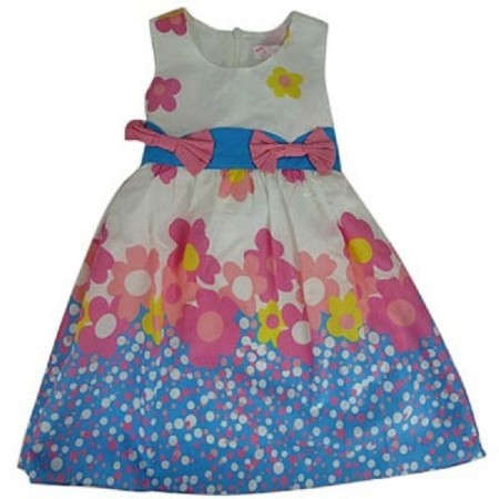 Girls-Party-Dress-Blue-White-Pink-Yellow-Floral-Summer-Sun-Size-4-5-6-7-8-321874484435