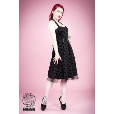 HEARTS & ROSES 1950s Fashion Dresses H R Black Halter Spot Rockabilly Retro