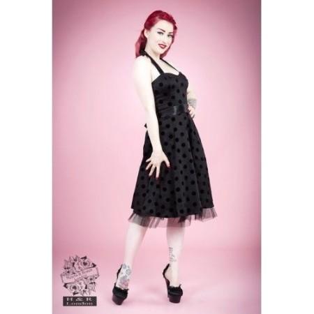 HEARTS & ROSES 1950s Fashion Dresses H R Black Halter Spot Rockabilly Retro