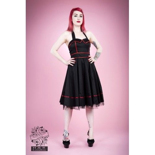 6e4904ae2643 HEARTS & ROSES 1950s Fashion Dresses H R Black Sailor Halter Rockabilly  Retro