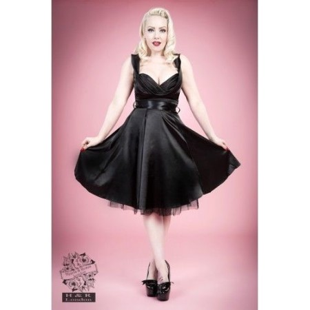 HEARTS & ROSES 1950s Fashion Dresses H R Black Satin Rockabilly Retro Vintage