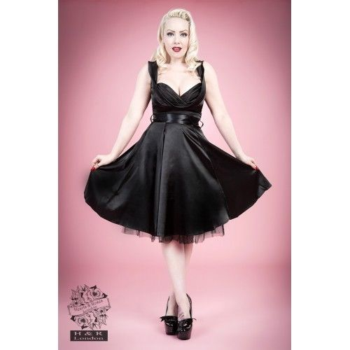 8a52b73dded4 HEARTS & ROSES 1950s Fashion Dresses H R Black Satin Rockabilly Retro  Vintage