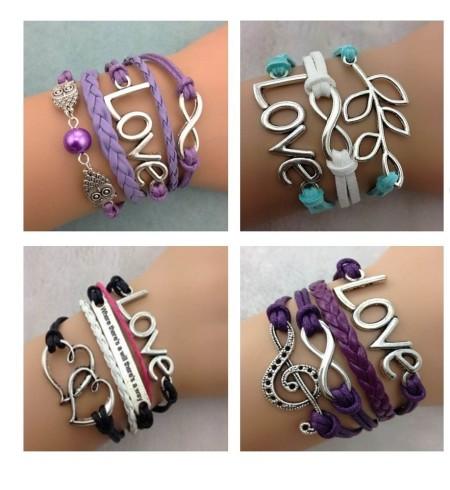 Infinity Bracelet Black Aqua Purple Lavender Love Dove Tree of Life Owl Music