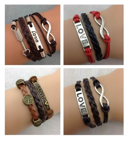 Infinity Bracelet Charm Brown Red Love Bronze Peace Silver Arrow Mens