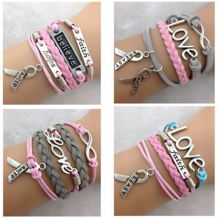 Breast Cancer Awareness Support Bracelet Pink Blue Faith Love Grey Hope Believe