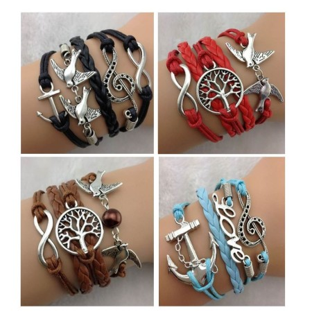 Infinity-Bracelet-Red-Black-Blue-Brown-Love-Dove-Tree-of-Life-Music-Note-Antique-221346679180