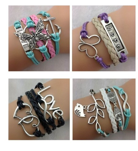 Infinity Bracelet White Aqua Black Pink Hope Love Owl Butterfly Heart Anchor