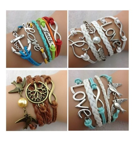 Infinity Bracelet White Aqua Brown Yellow Pink Dream Love Anchor Bronze Dove
