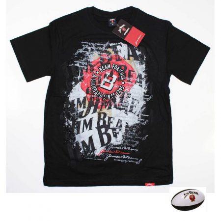 JIM-BEAM-T-Shirt-Black-Tee-Top-Size-S-L-XL-3XL-Plus-FREE-Mini-Football-Offical-221666675906
