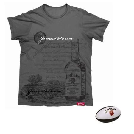 JIM-BEAM-T-Shirt-Charcoal-Grey-Tee-Top-Size-S-Plus-FREE-Mini-Football-321618690310