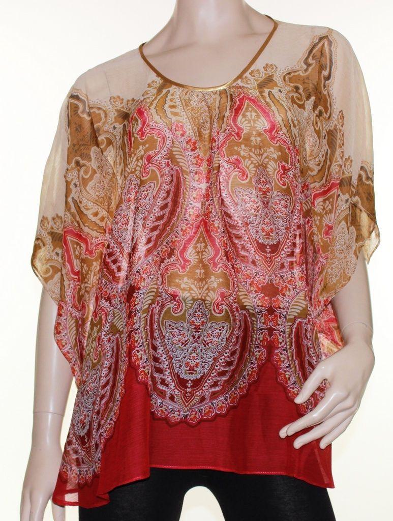 Kaftan Top Caftan Blouse Batwing Plus Size 8-26 Women Sheer Resort Cover Up