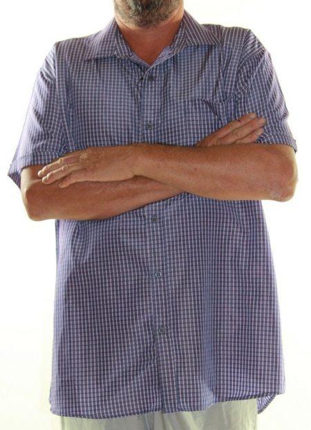LOWES Short Sleeve Shirt Big Mens Size 3XL 8XL 9XL Grey Purple Check Plus