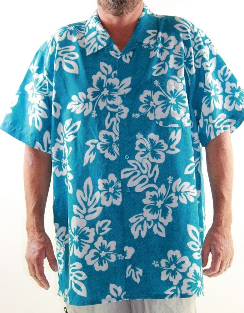 LOWES Short Sleeve Shirt Big Mens Size 4XL Turquoise Hawaiian Tropical Floral