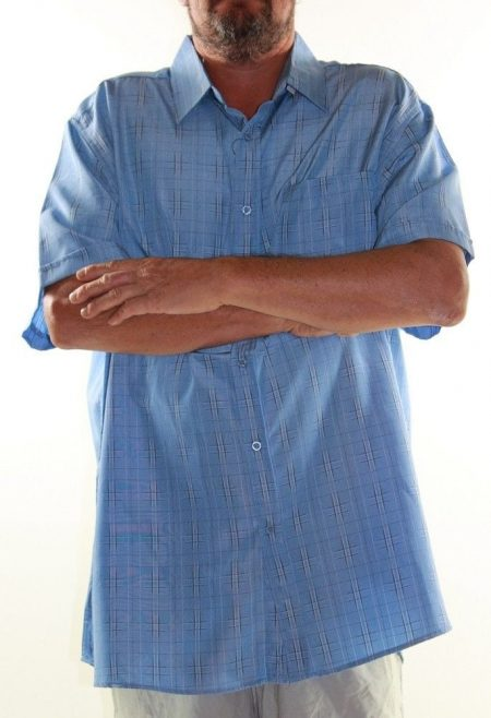 LOWES Short Sleeve Shirt Big Mens Size 6XL Blue Check Plus