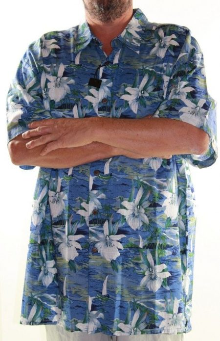 LOWES Short Sleeve Shirt Big Mens Size 6XL Blue Hawaiian Floral Tropical
