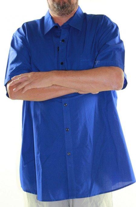 LOWES Short Sleeve Shirt Big Mens Size 6XL Blue Textured Cotton