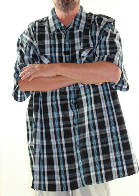 LOWES Short Sleeve Shirt Big Mens Size 9XL Black Blue Check Cotton