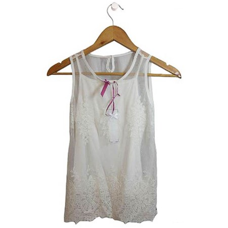 Lace Camisole Cami Girls Size 7 8 9 12 16 Off White Mesh Lace Tunic Overlay