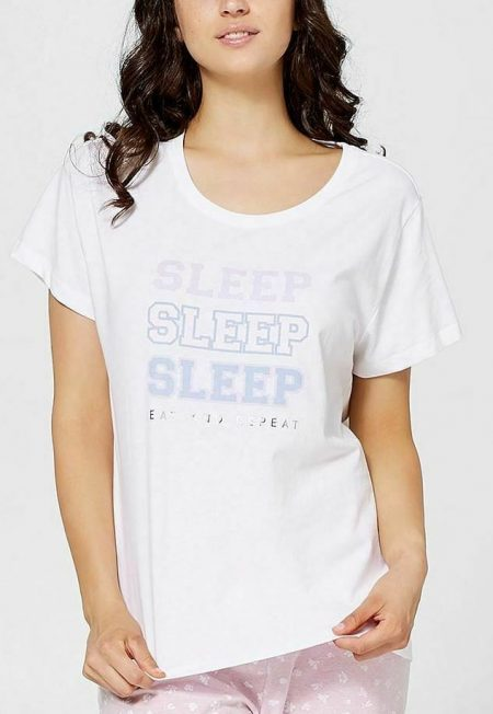 Lily Loves Sleep Top TARGET Plus Size M L XL White Pyjama PJ T Shirt Tee