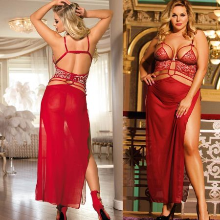 Long Gown Red Sheer Plus Size M XL 3XL 5XL Valentines Sleepwear Lingerie