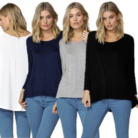 3/4 Sleeve Top BETTY BASICS Milan Scoop Neck Tee T Shirt Black White Navy Grey