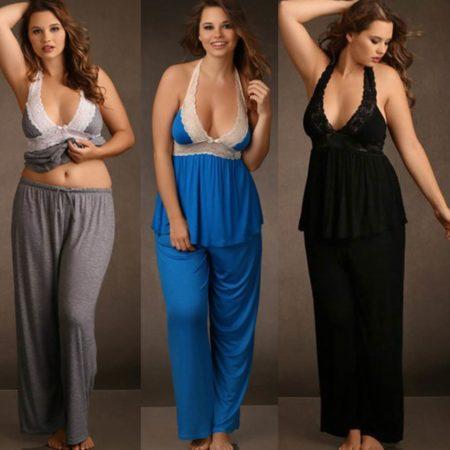 Lounge-Pant-Romper-PJ-Black-Grey-Blue-Lace-Plus-Size-XL-3XL-Camisole-Pyjama-322096206720