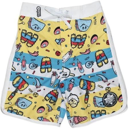 MAMBO-Board-Shorts-Boardies-Boys-Stripe-Print-Blue-Yellow-Surfer-Size-3-4-5-6-7-221840554304