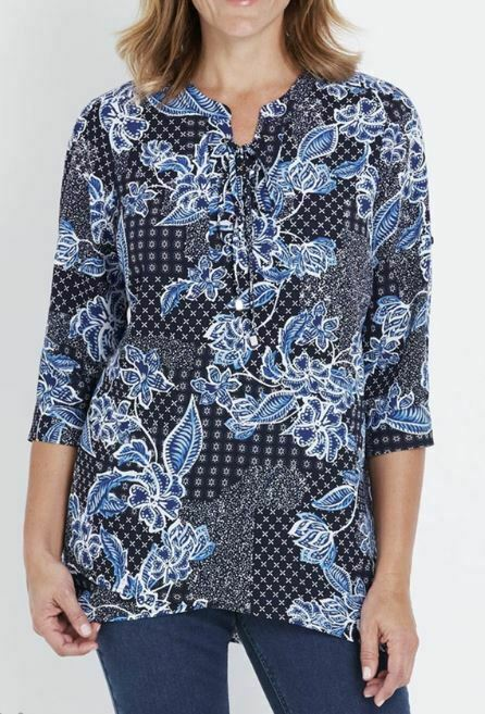 MILLERS Blouse Plus Size 16 18 20 22 24 26 Top Shirt Blue Floral 3/4 Sleeve