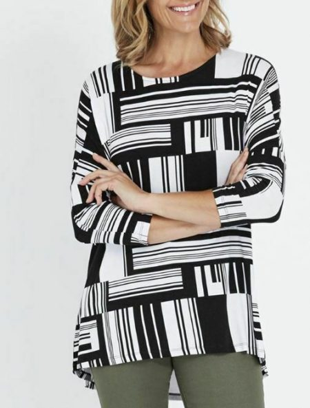 MILLERS Blouse Plus Size 16 18 20 22 Top Shirt Black White 3/4 Sleeve Tunic