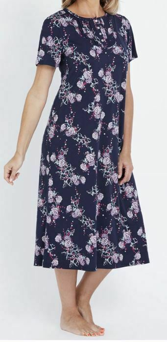 MILLERS Nightie Plus Size 12/14 16/18 20/22 Navy Floral Night Gown PJ Pyjama