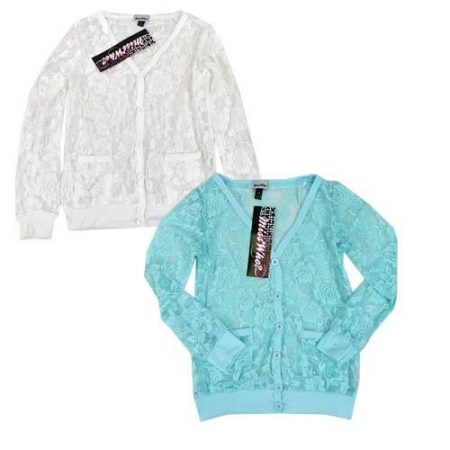 Miss-Who-Lace-Cardigan-Long-Sleeve-Top-Cream-Blue-Girls-Size-8-10-12-14-Shrug-321840157129