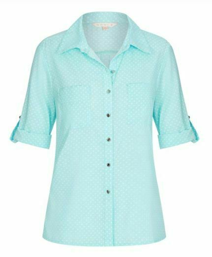 NONI B Shirt Size 10 12 14 16 18 Mint Spot Top Blouse RRP$79.95 3/4 Sleeve