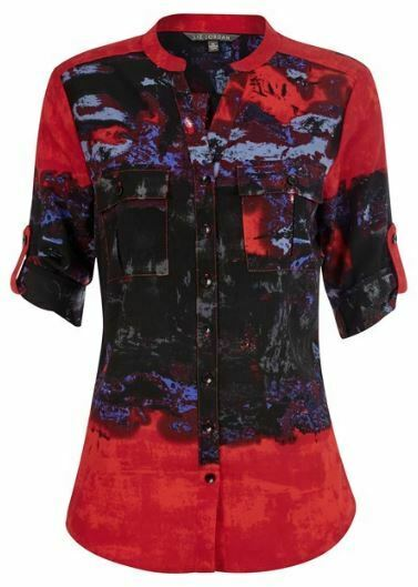 NONI B Shirt Size 10 12 14 16 Liz Jordan Red Top Blouse RRP$89.95 Long Sleeve