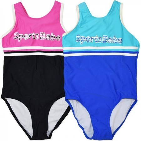 One Piece Bathers Swimwear JUNIOR ZONE Sports Racer Action Back Girl Pink Blue