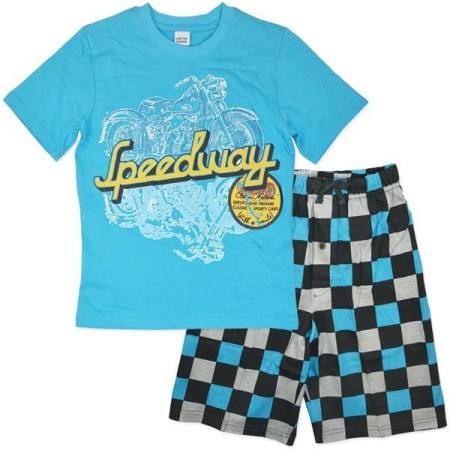 PJ Pyjama Pajama Size 8 10 12 14 16 Blue Summer Speedway Cars Check Short