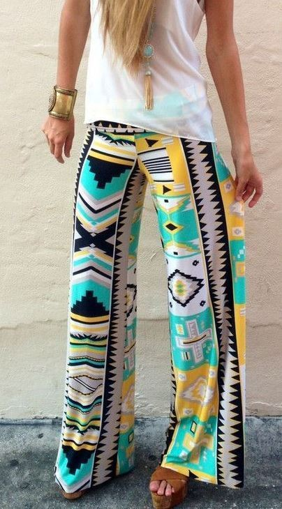 Palazzo Pants Wide Leg Trousers Tribal Print Casual Womens Size 10 12 14
