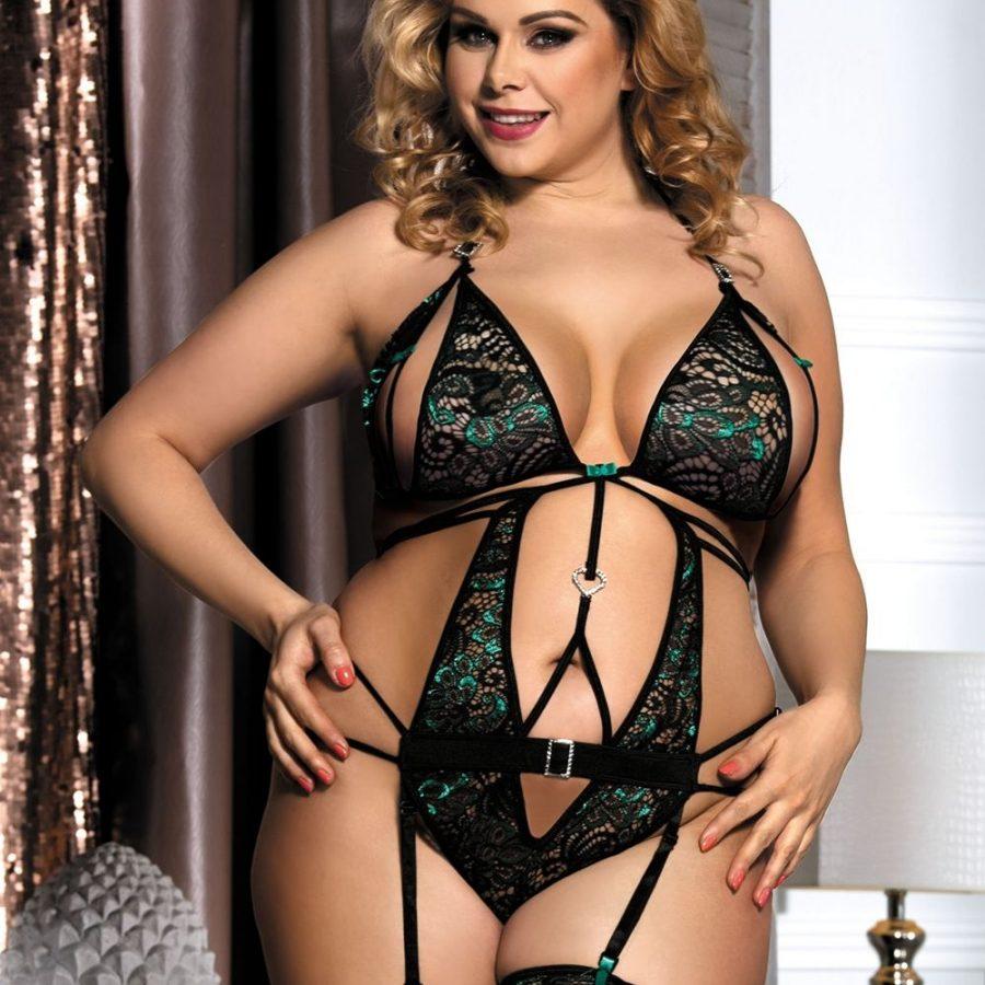 1106fbefe8d3d Peekaboo-Teddy-Garter-Sexy-Open-Cup-Green-Emerald-Lingerie-Plus-Size -XL-3XL-5XL-222522500718-4