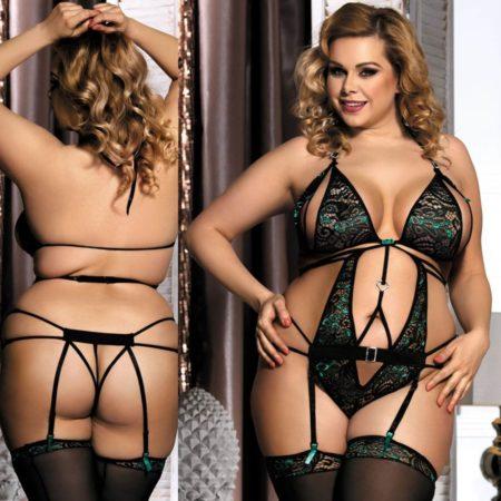 Peekaboo-Teddy-Garter-Sexy-Open-Cup-Green-Emerald-Lingerie-Plus-Size-XL-3XL-5XL-222522500718