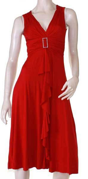 Red Dress Cocktail Races Formal Plus Size 10 12 14 16 18 20 EVERSUN Sleeveless
