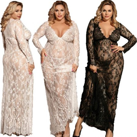Sexy Lace Long Gown Black White M XL 3XL Plus Size Wedding Sleepwear Lingerie