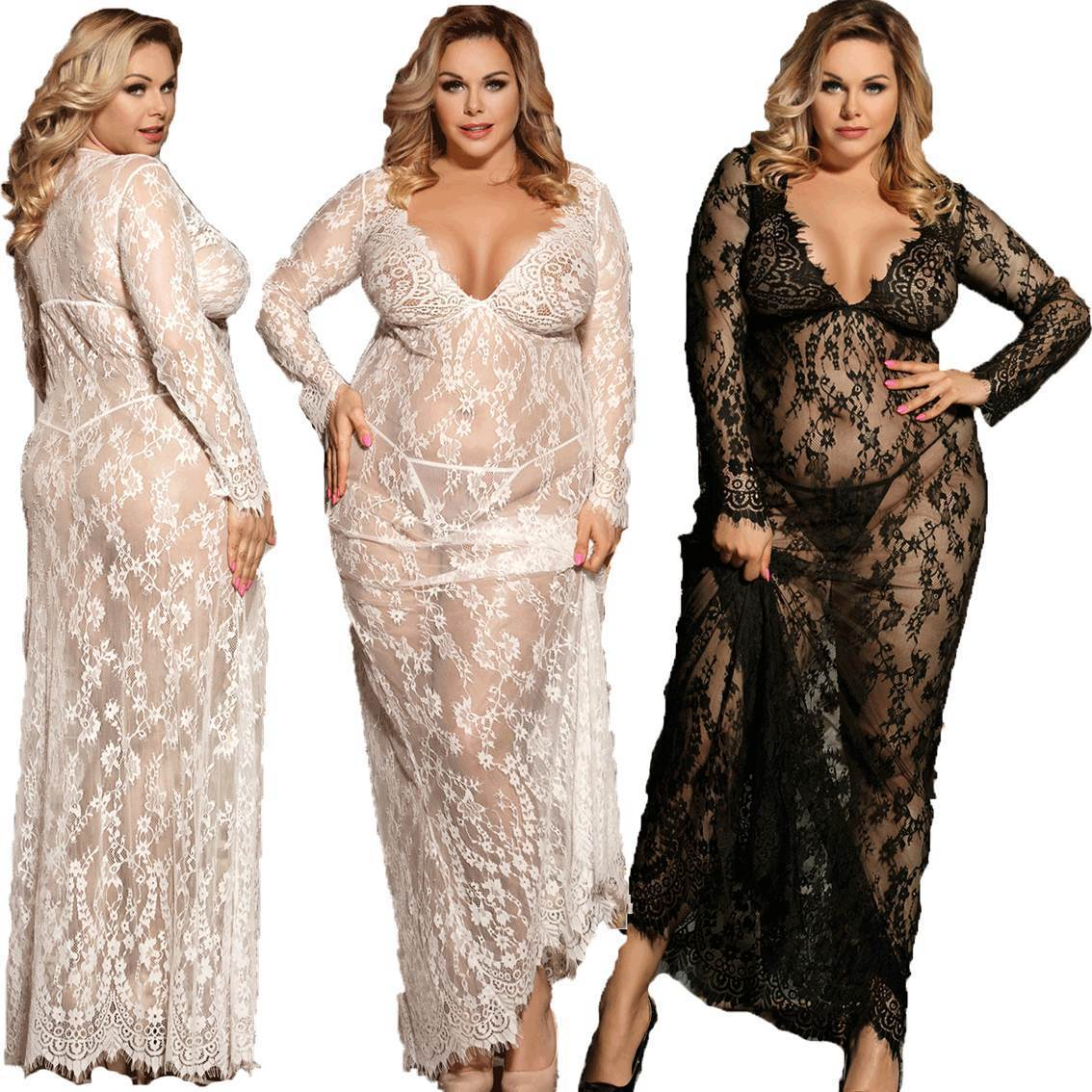 130e559b7 Sexy Lace Long Gown Black White M XL 3XL Plus Size Wedding Sleepwear ...