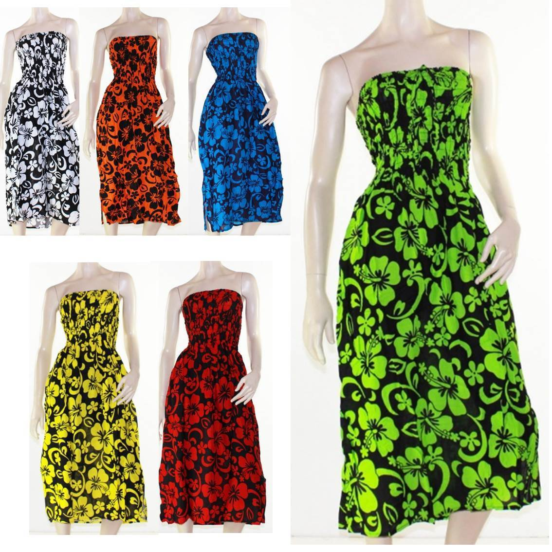 132b42646908 Shirred Dress Strapless Size 8 - 16 Tropical Hibiscus Bright Print ...