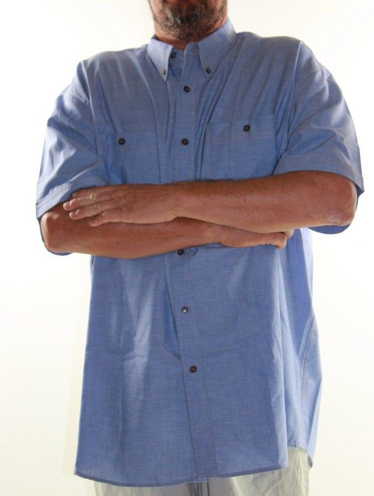 Short Sleeve Shirt De Vali Big Mens Size 4XL 5XL Denim Look Cotton Plus